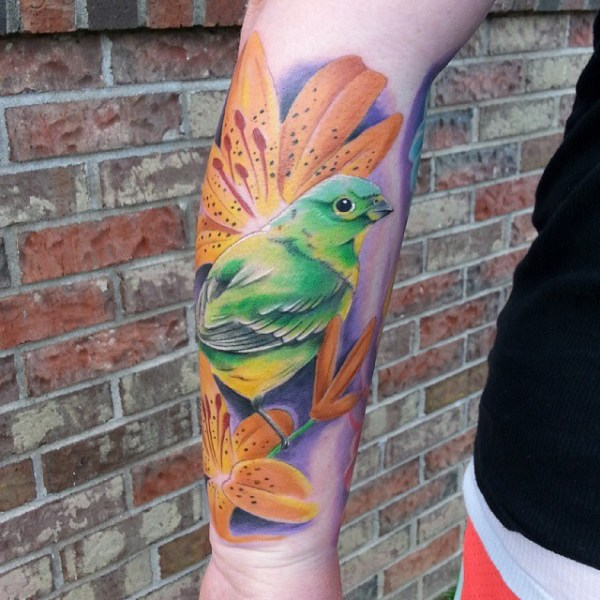 tiger lily tattoo with colorful bird