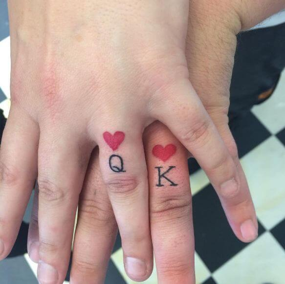 king and queen tattoos on finger for love