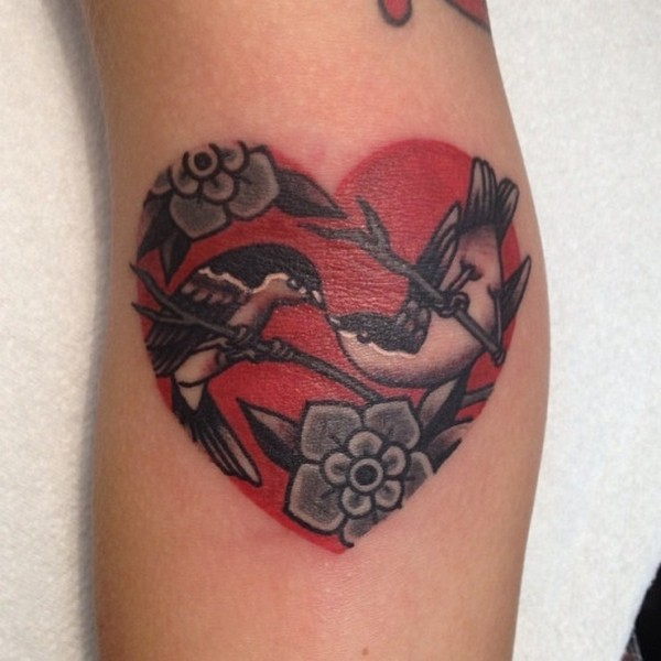 neo traditional heart and lovebirds tattoo