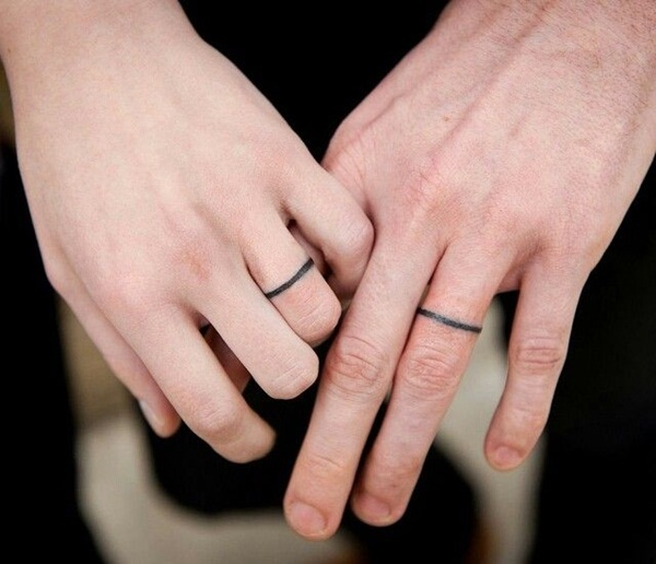 wedding band tattoos on ring finger for couples