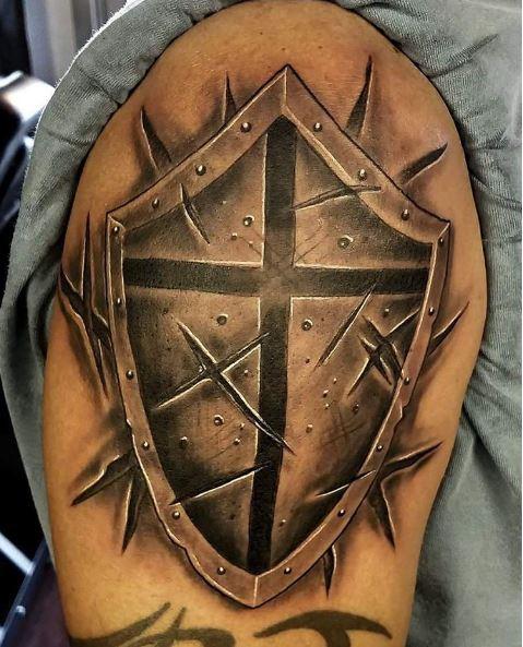 3D Christian Shield Tattoo Design for warriors