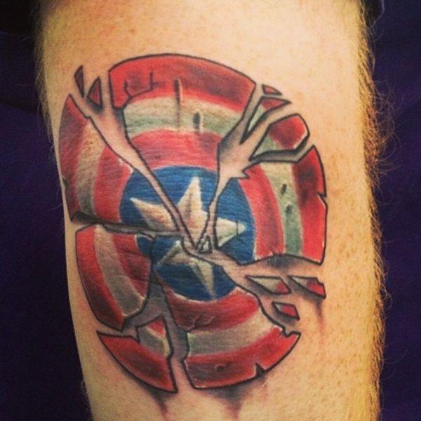 captain america broken shield tattoo