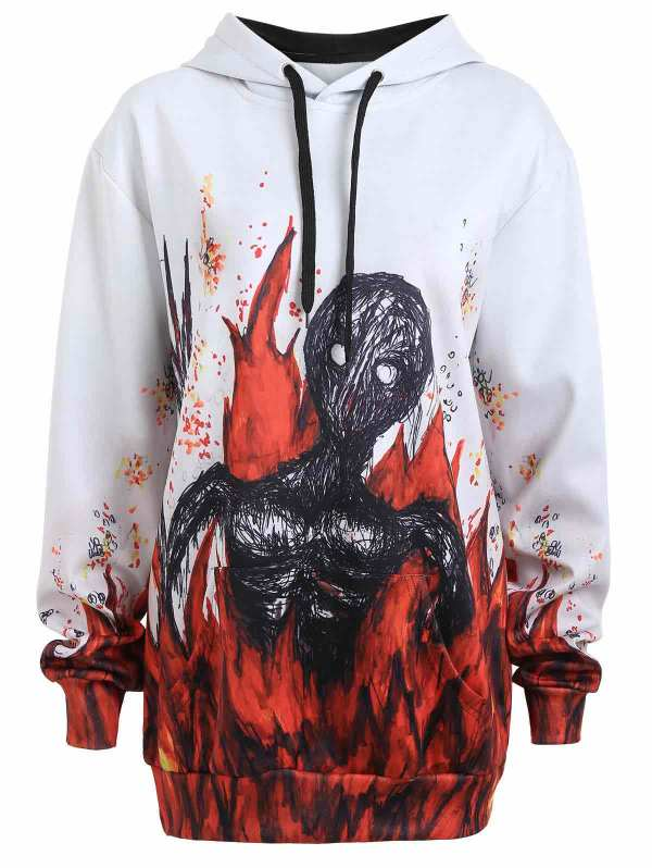 skeleton on fire scary halloween hoodie ideas