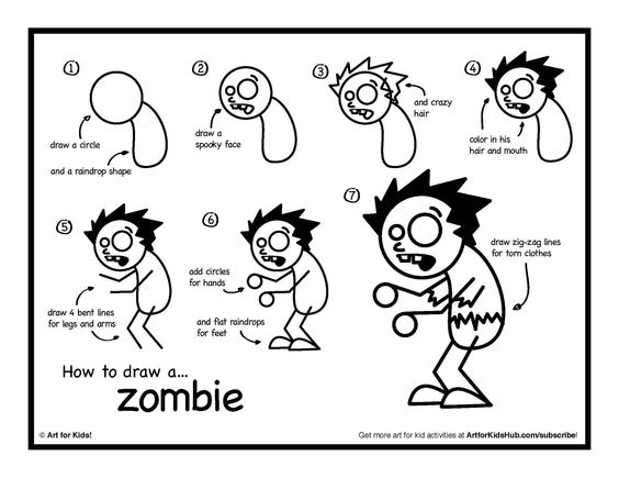 Easy To Draw Zombie Step By Step For Halloween Entertainmentmesh