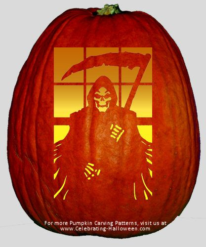 grim reaper pumpkin carving pattern ideas for halloween decorations