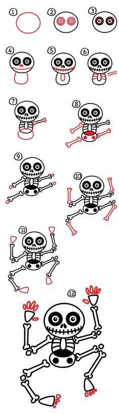 halloween skeleton drawing ideas for kids
