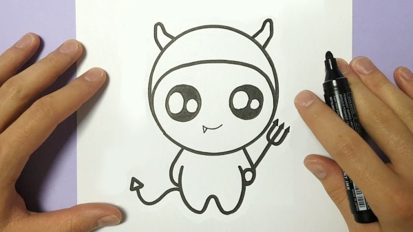 how to draw so cute halloween devil on paper