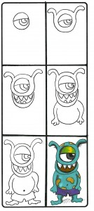 scary monster kids drawing images for halloween