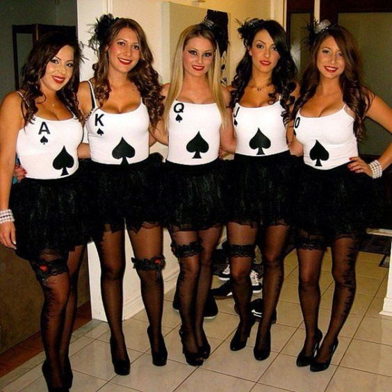 sexy playing cards girls group halloween costumes