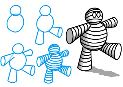simple mummy halloween drawing ideas for kids