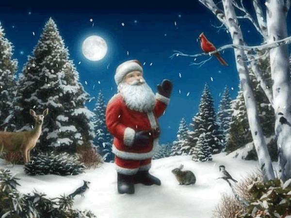 Static Santa snowy night