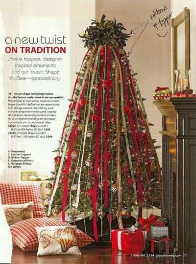 Cascading ribbon tree Christmas decorations