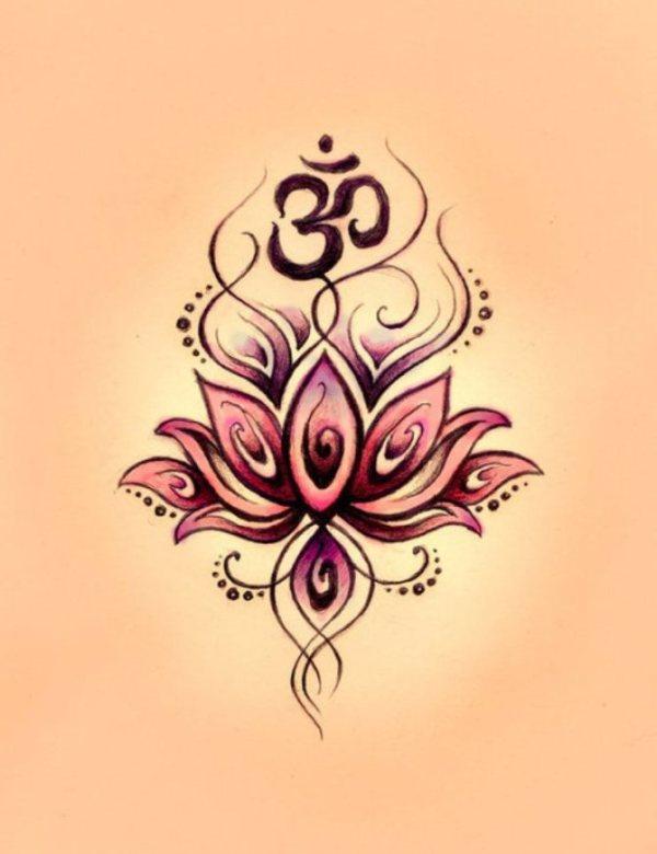 Buddhist lotus flower tattoo symbol