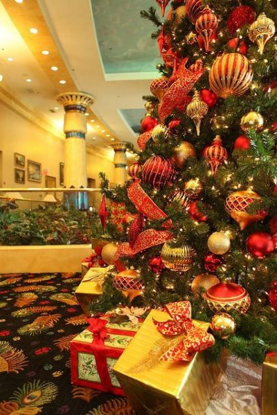 red and gold Christmas tree decors