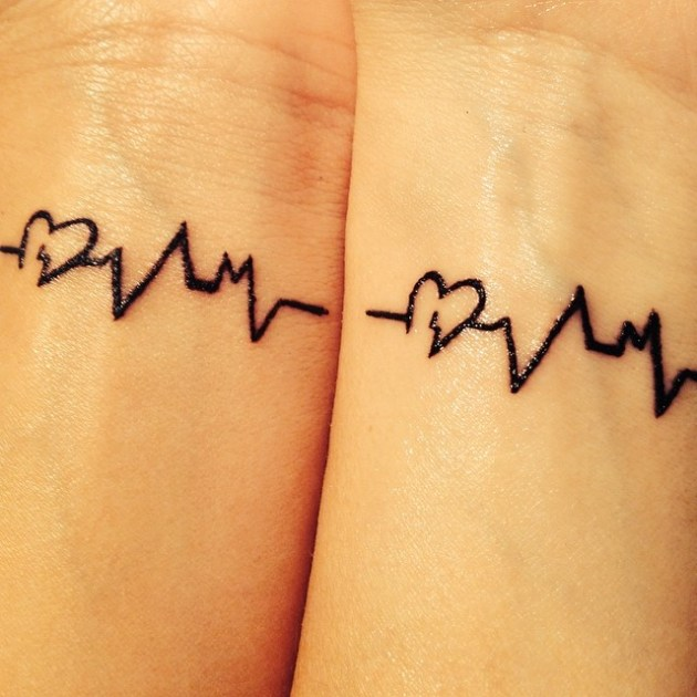heart and lifeline tattoo on wrist for best friends