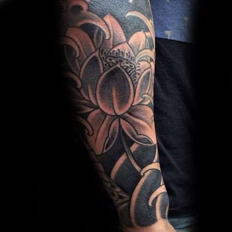 black and grey lotus flower tattoo on sleeve for men