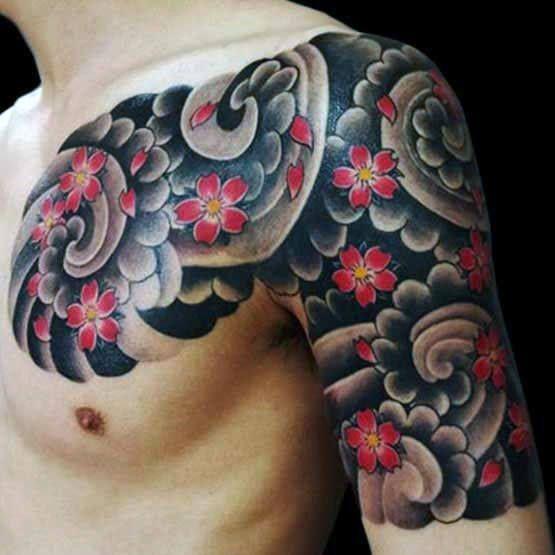 japanese cherry blossom flowers tattoo on men chest shoulder