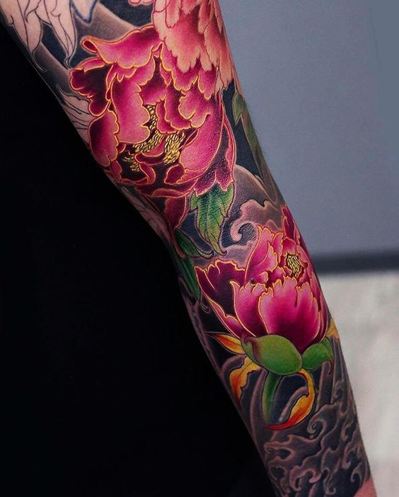 japanese peony flower tattoo on sleeve for men