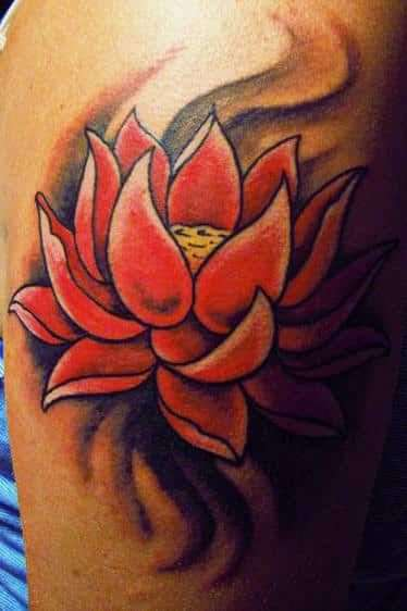 orange lotus flower tattoo design