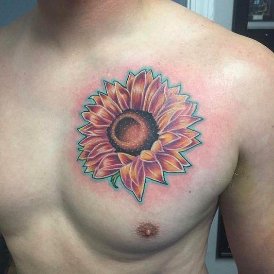 sunflower tattoo for men chest