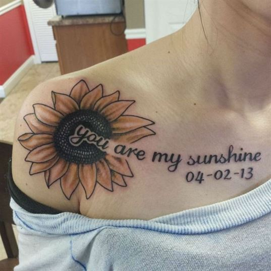 you are my sunshine tattoo ideas on chest for females