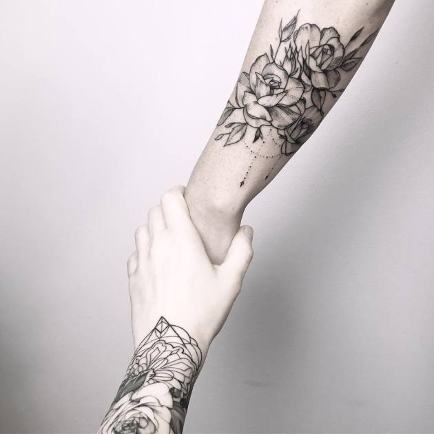 black and white rose flower tattoos on forearm for couples