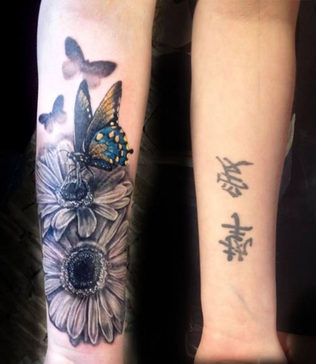 realistic sunflower with butterflies tattoo on forearm