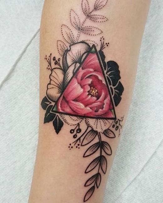 triangle rose tattoo on forearm