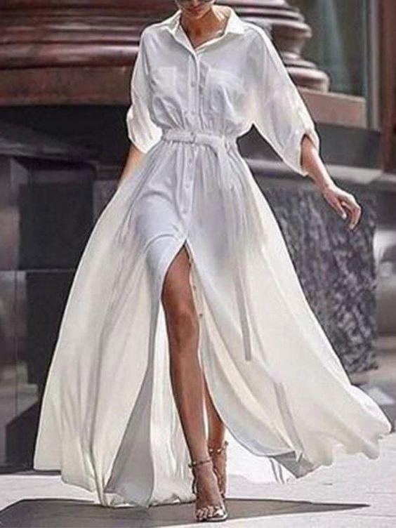 bohemia long-sleeve split-side cotton maxi dress