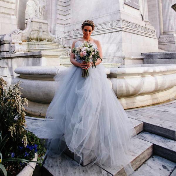 pale grey bridal wedding dress color ideas 2019