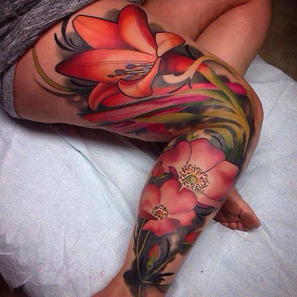 flowers tattoo on leg for females
