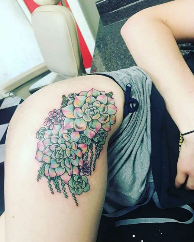 colorful flower tattoos for girls