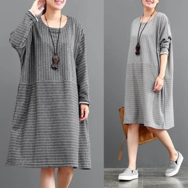 cotton long sleeve tunic stripe maxi women dress