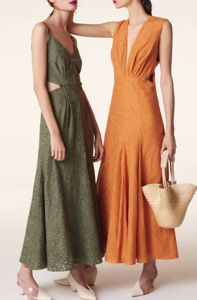orange and green sleeveless summer cotton dresses for women