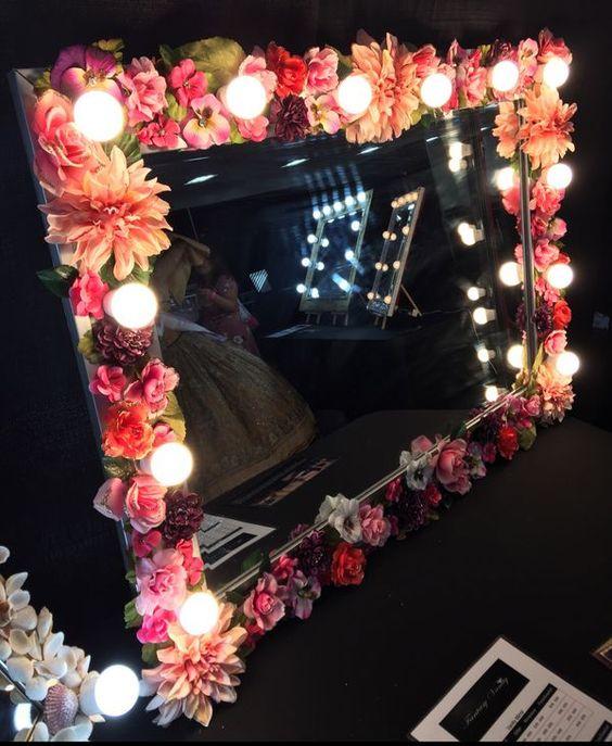 rustic floral led vanity mirror for girls bedroom