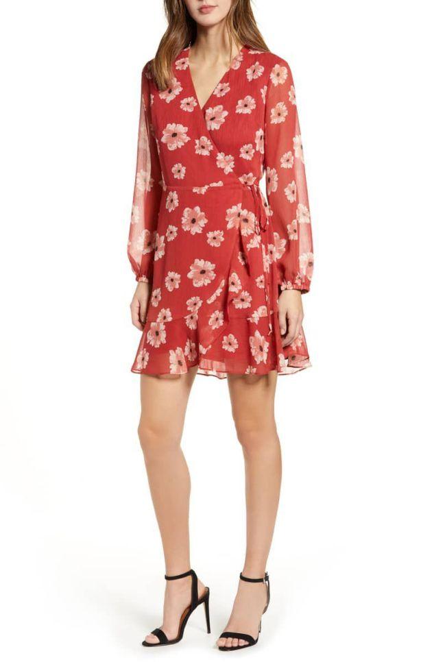 floral chiffon midi wrap dress ideas for wedding guest