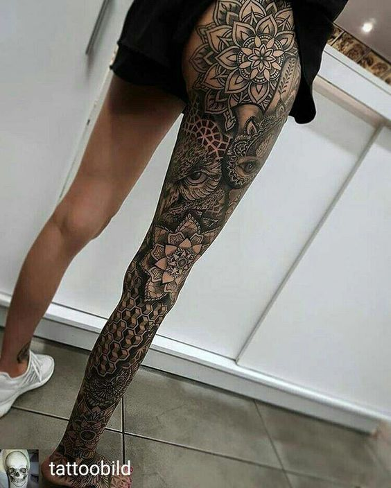 mandala tattoo design on full leg