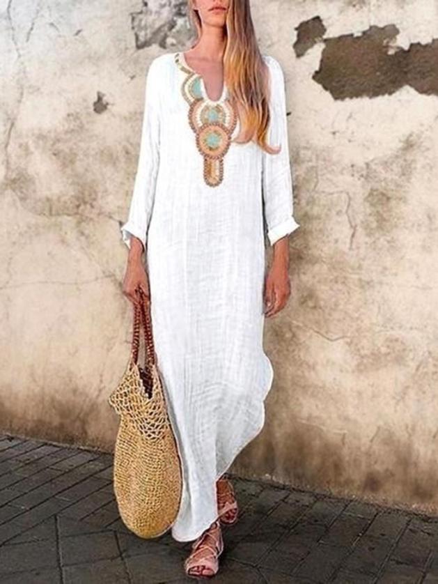 long sleeve vintage white maxi dress