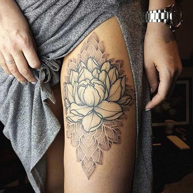 lotus flower tattoo design on thigh