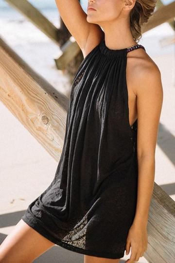 sleeveless casual cotton dress
