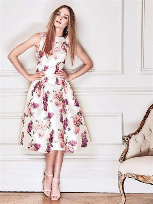pleated floral print wedding guest dress ideas for 2019