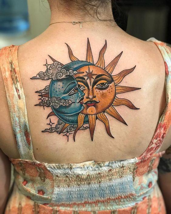 beautiful big sun and moon tattoo design on back