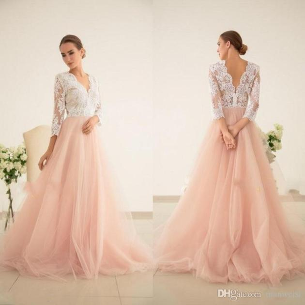 blush pink bridal dress color ideas 2019