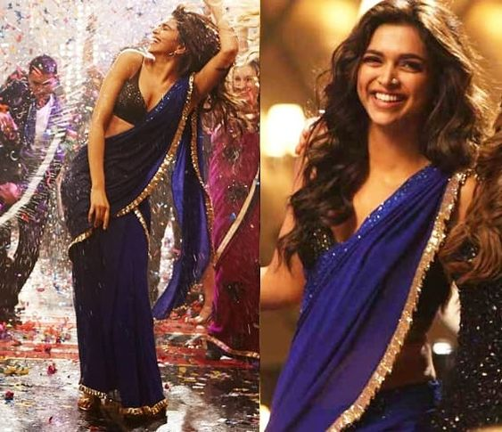 DeepikaPadukone in Blue Saree