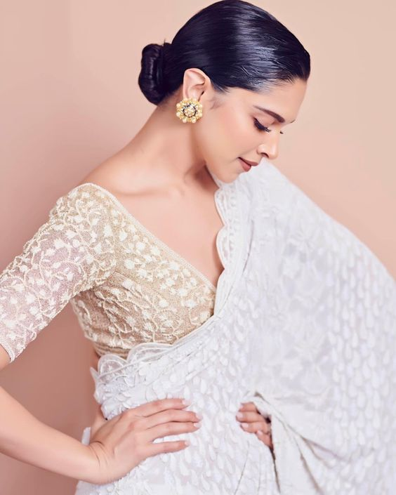 DeepikaPadukone in White Saree