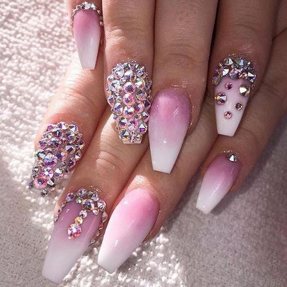acrylic pink white ombre nails with rhinestones