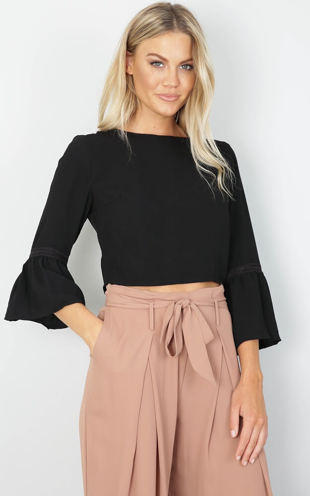 black crop top with palazzo pant
