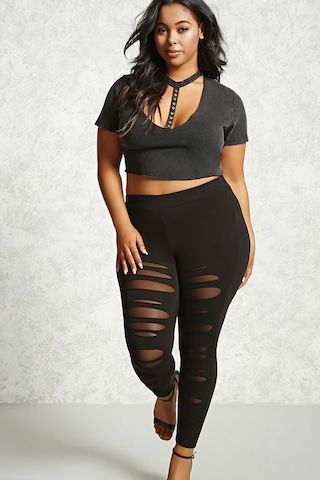 black plus size women outfits with legging