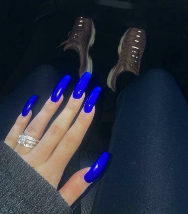 blue coffin acrylic nails