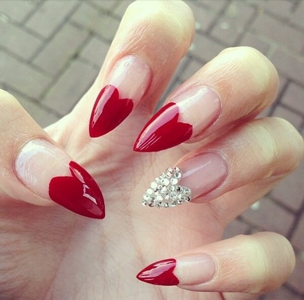 french tips valentines day red hearts nail art with diamonds on one finger